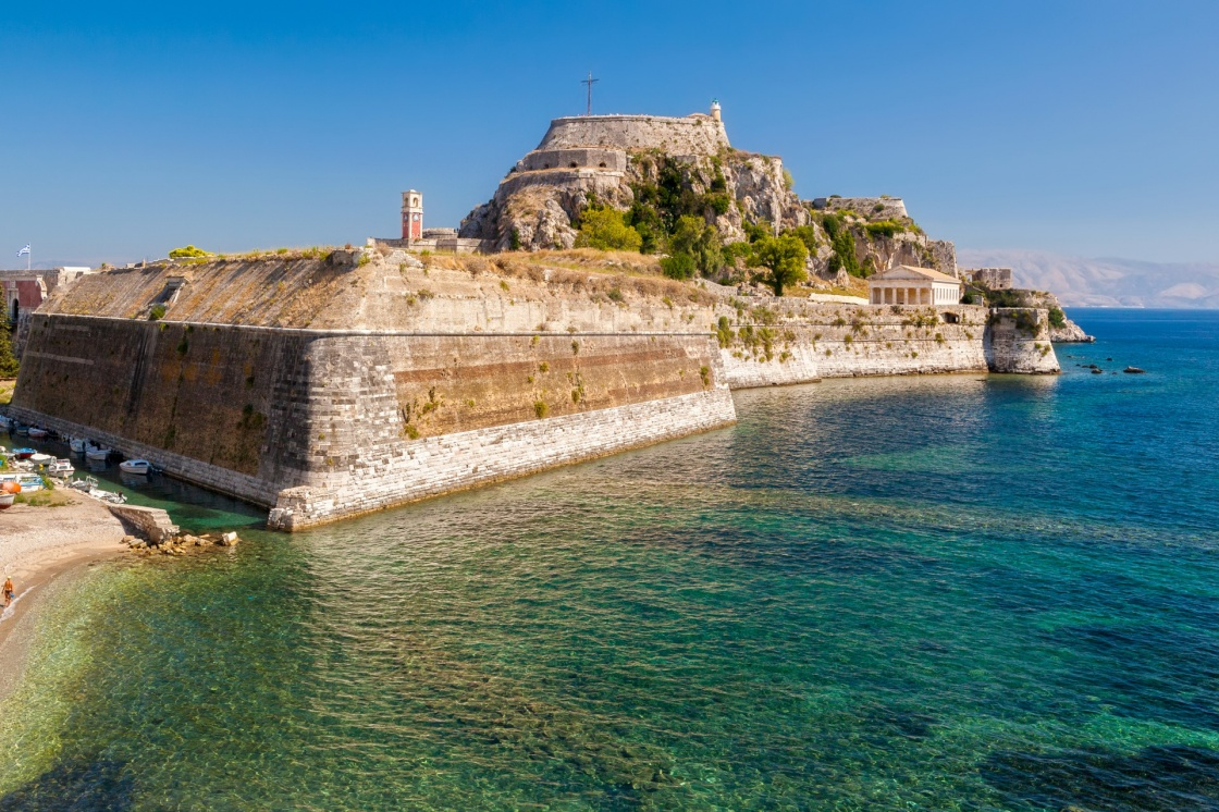 'Old fortress walls and clock tower Kerkyra city, Corfu, Greece' - Κέρκυρα